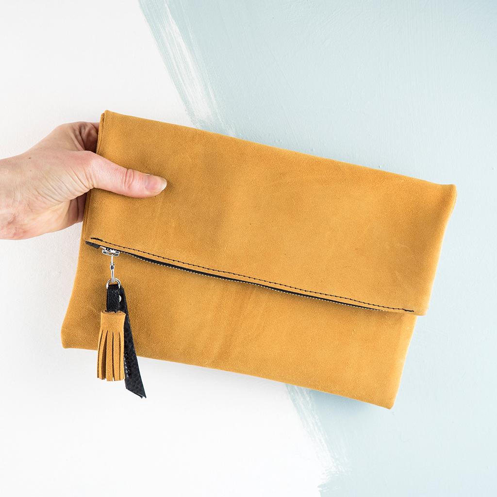 Italian Suede Fold Over Clutch Bag In Mustard