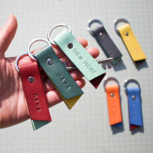 Hidden message leather keyring